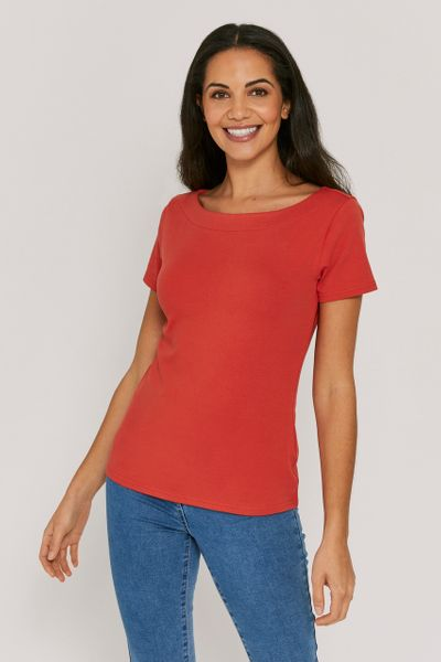 Rust Short Sleeve Bardot Top