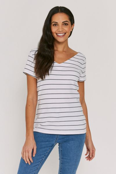 White Stripe V-neck Bardot
