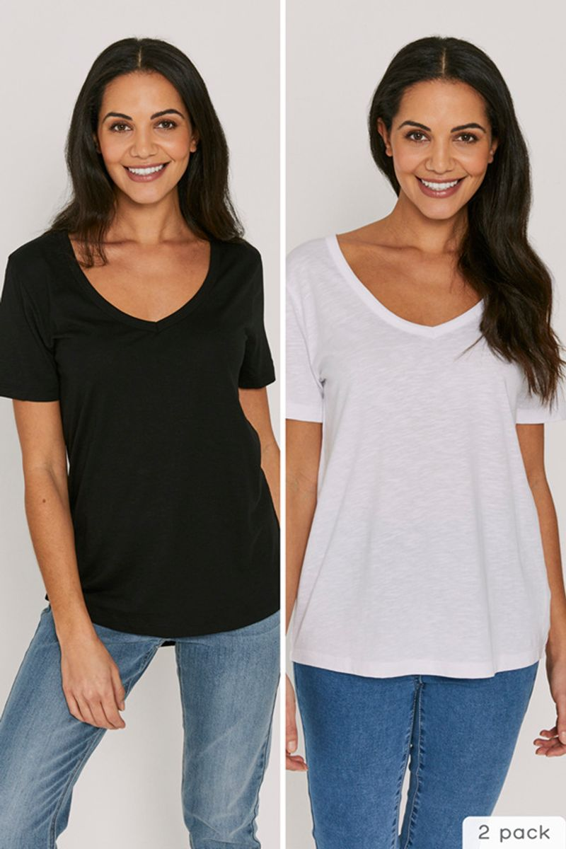 2 Pack Black & White Loose Fit T-shirts