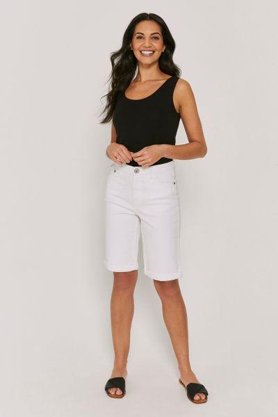 White Longline Short