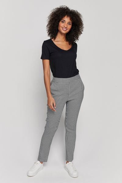 Dogtooth Elastic Back Trousers
