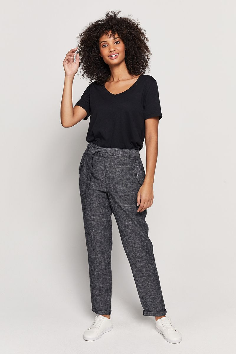 Black Linen Rich Trousers