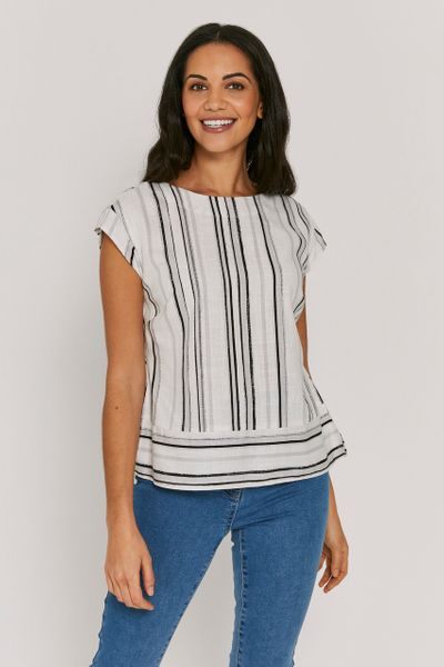 Stripe Button Back Top