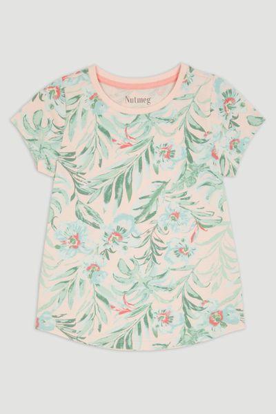 Pink Leaf Print T-Shirt