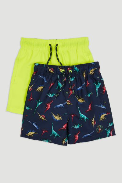 2 Pack Neon Dinosaur Swim Shorts