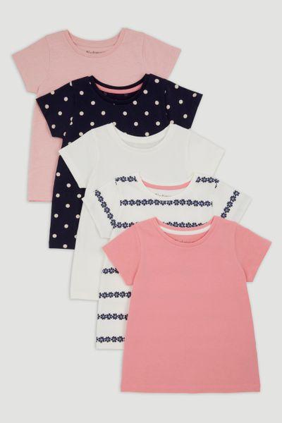 5 Pack Navy Spot T-Shirts