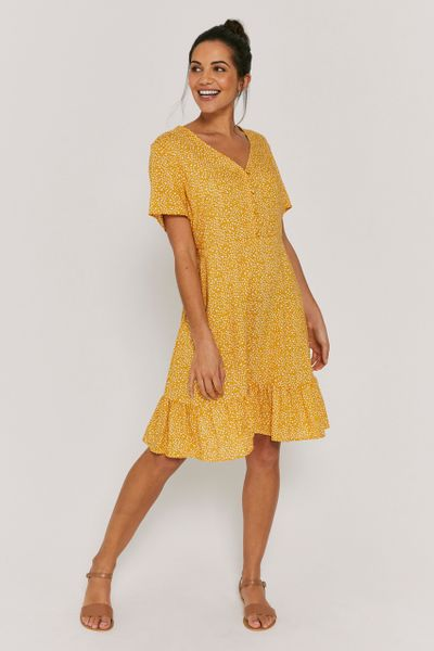 Ochre Ditsy Flower Tea Dress