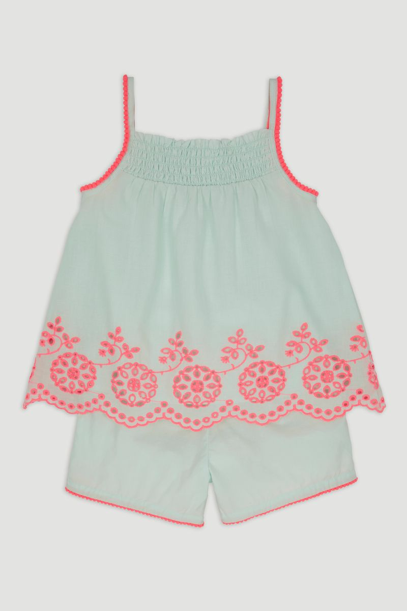 Mint Woven Smock Top & Shorts