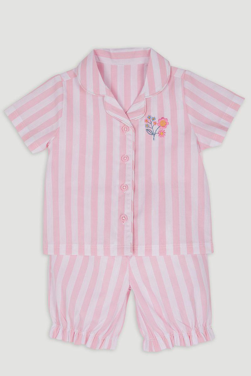 Pink Stripe Cropped Leg Pyjamas