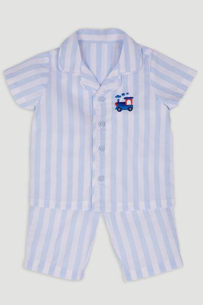 Blue Stripe Cropped Leg Pyjamas