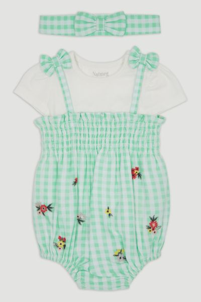 3 Piece Green Gingham Romper Set