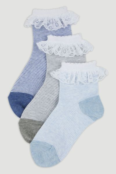3 Pack Denim Frill Socks