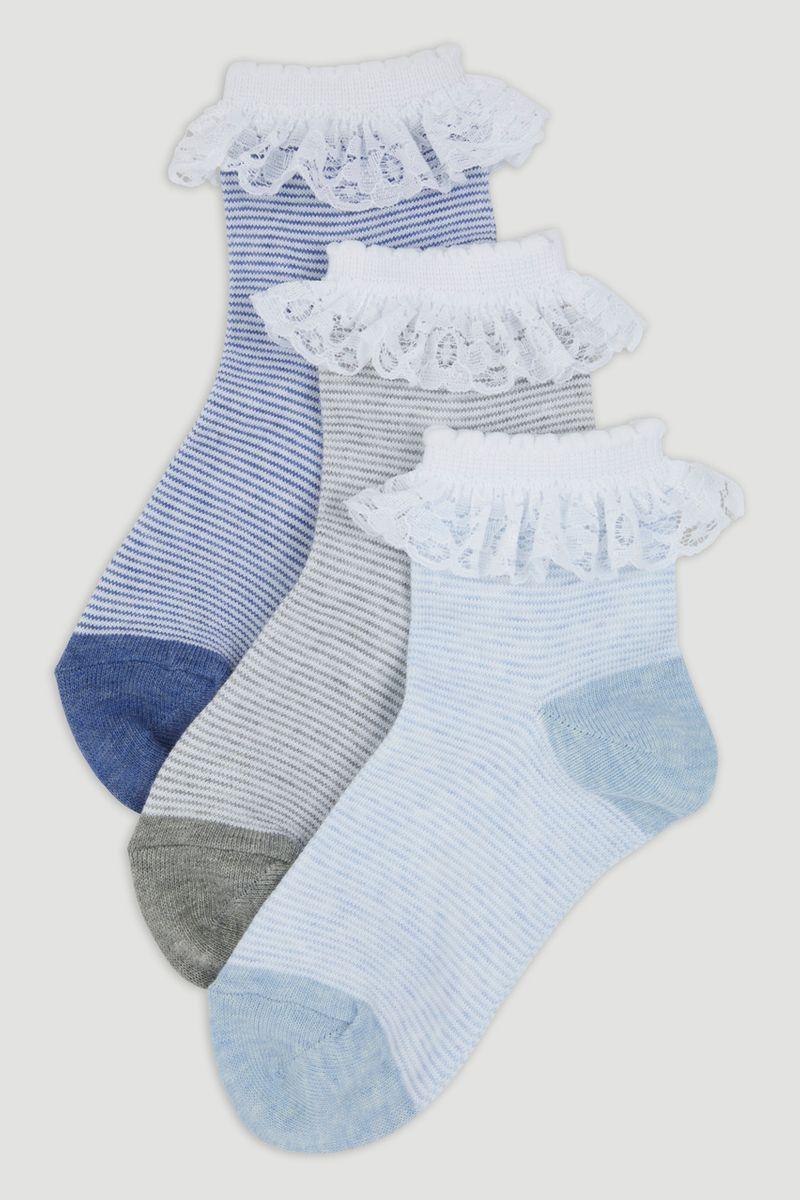 3 Pack Denim Frill Socks