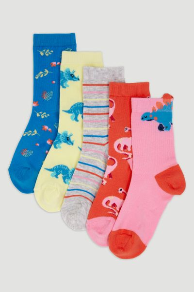 5 Pack Playful Dino Socks