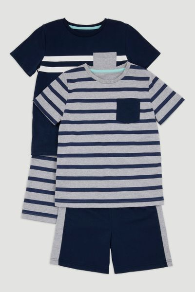 2 Pack Navy & Grey Pyjamas