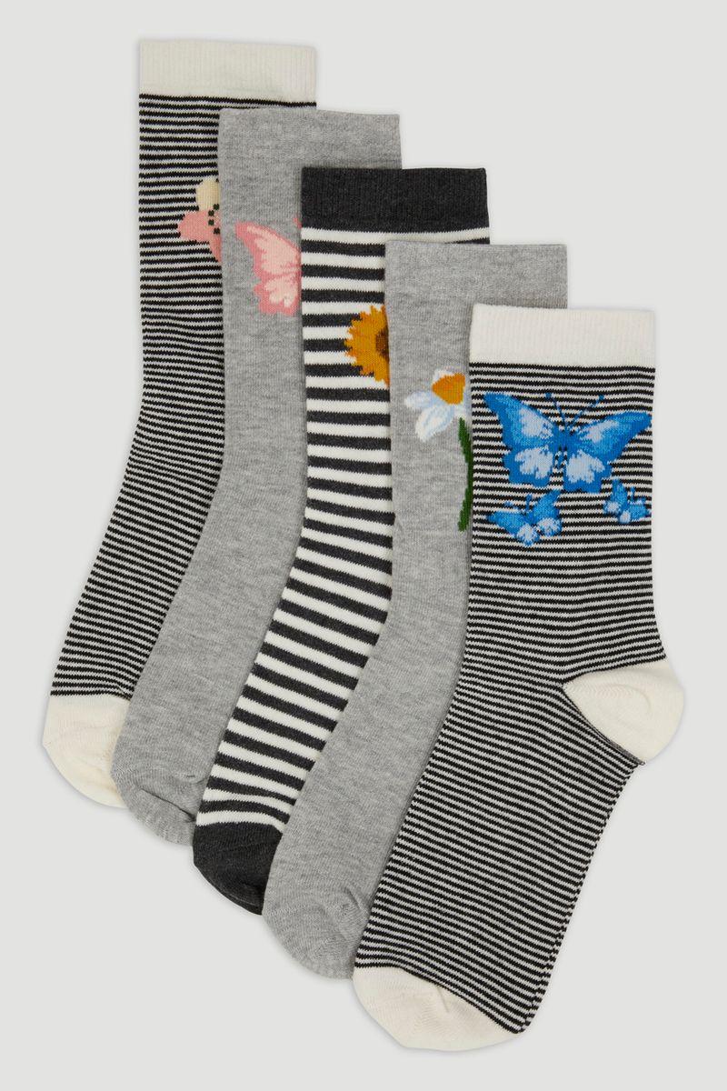 5 Pack Grey Butterfly Socks
