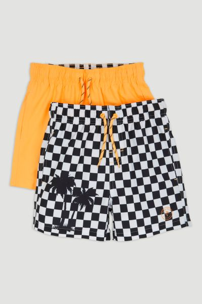 2 Pack Orange Check Swim Shorts