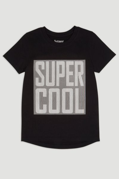 Textured Slogan Super Cool T-shirt