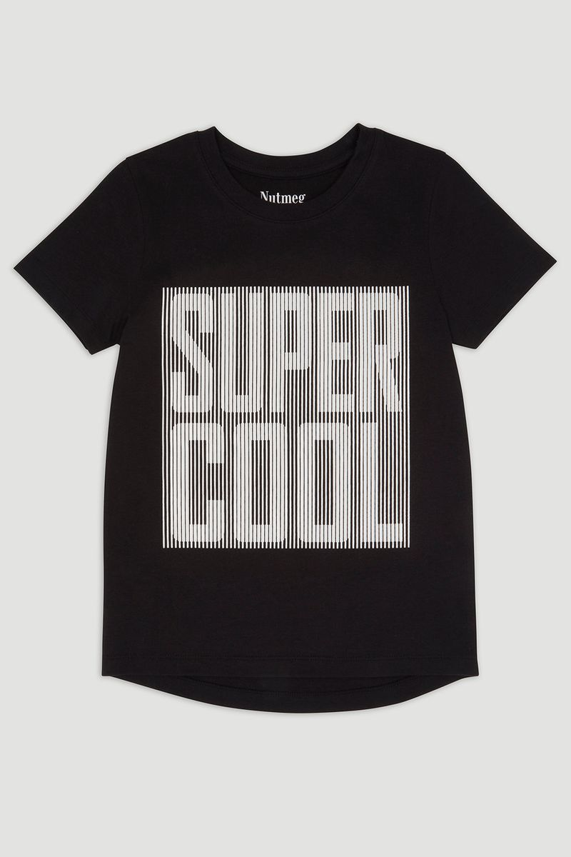 Textured Slogan Super Cool T-shirt