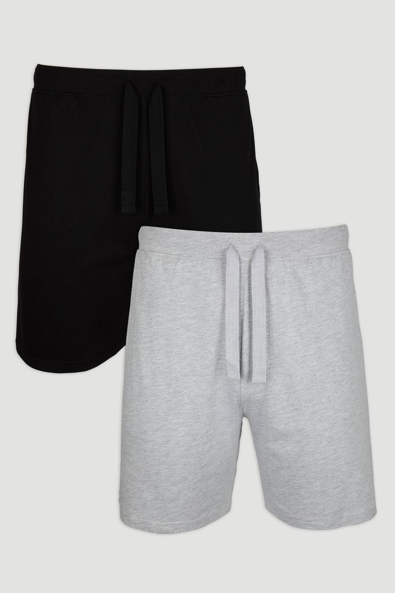 2 Pack Black & Grey Shorts