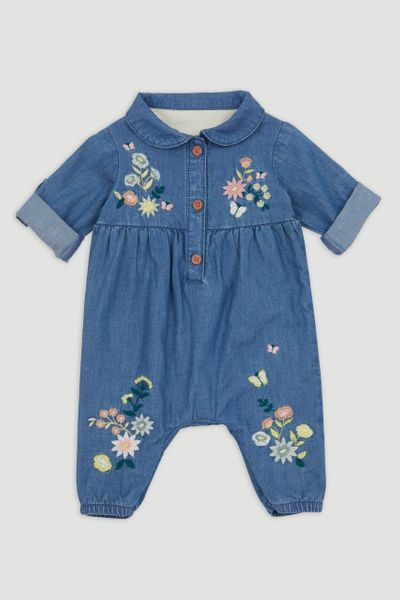 Denim Flower All in One Romper