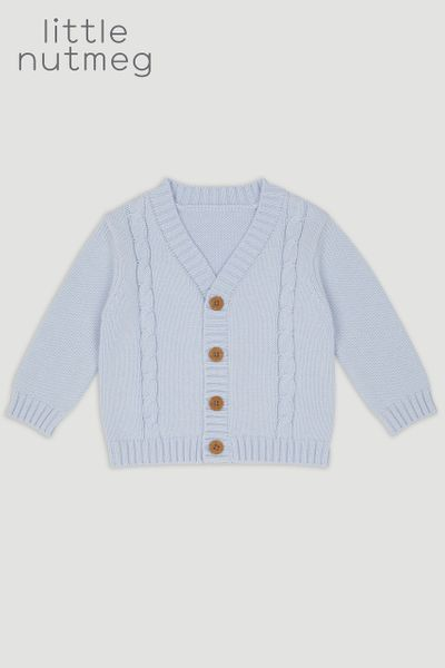 Little Nutmeg Blue Cable Cardigan