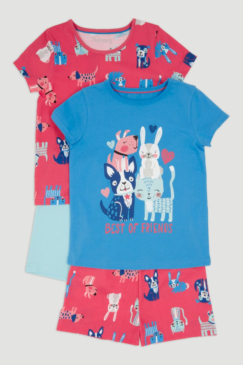 2 Pack Dog Print Pyjamas