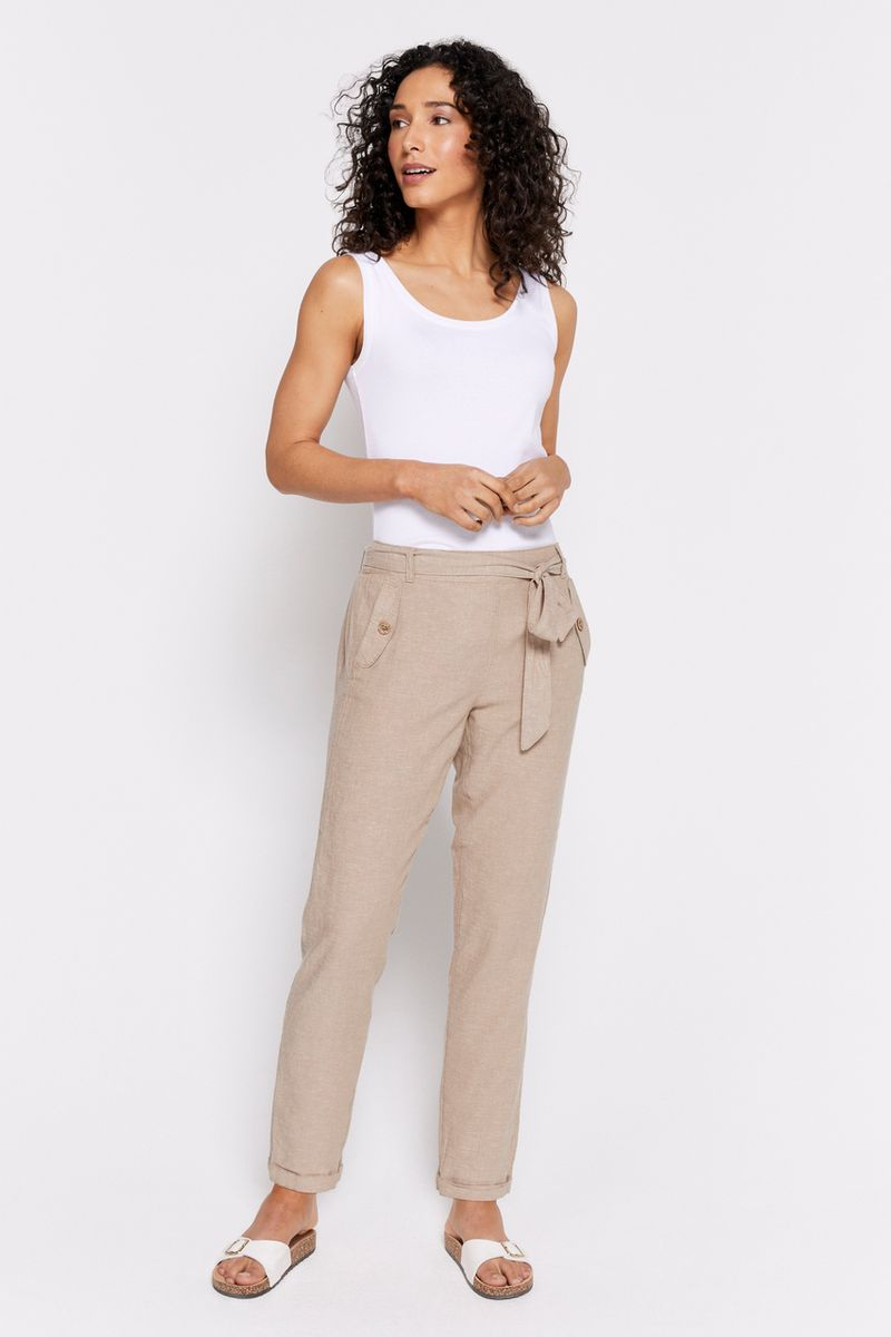 Stone Linen Rich Tapered Trousers