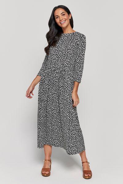 Black Spot Midi Dress