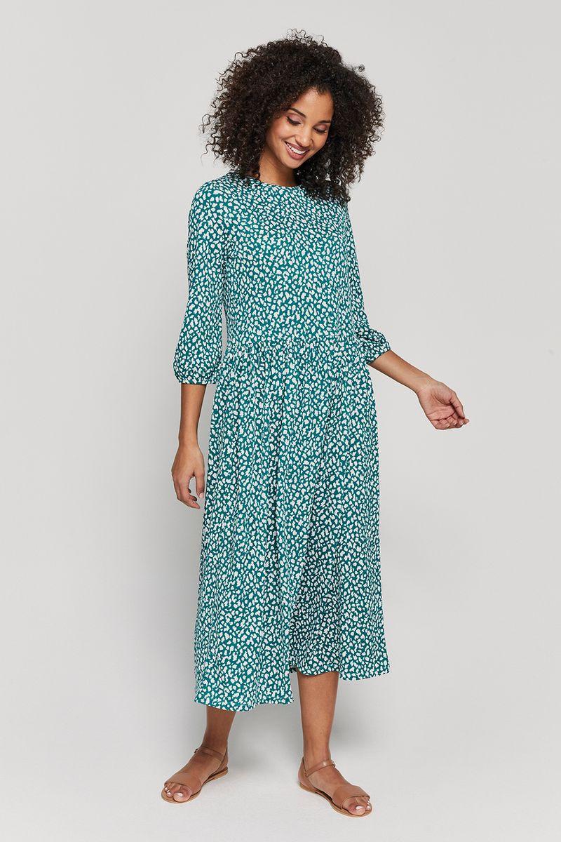 Green Spot Midi Dress