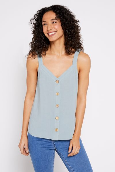 Sage Button Front Cami