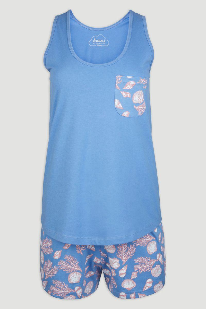 Blue Seashell Vest & Shorts