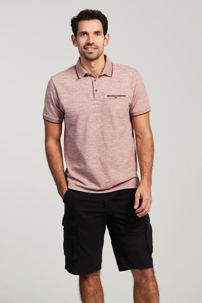 Pink Marl Textured Polo Shirt