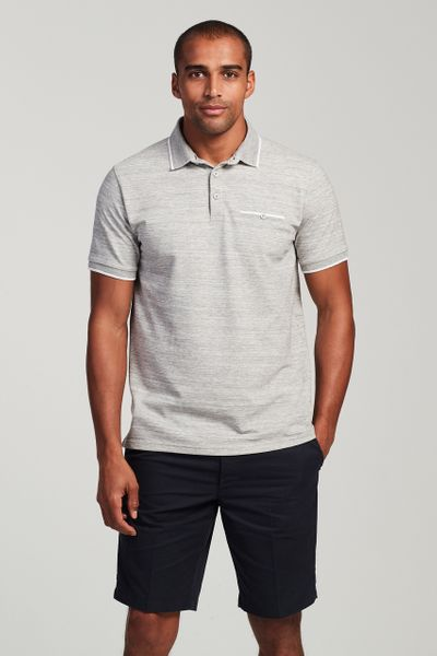 Grey Marl Textured Polo Shirt