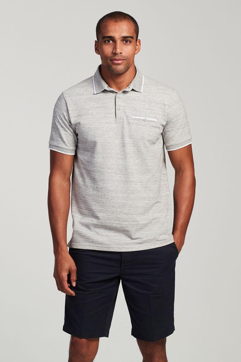 Grey Marl Textured Polo Shirt