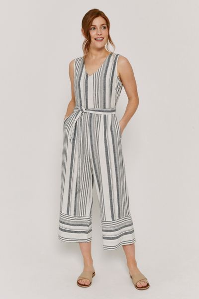 Linen Blue Stripe Jumpsuit