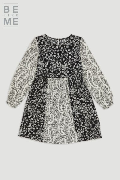 Be Like Me Floral Monochrome Dress