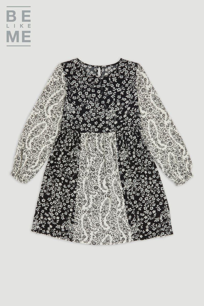 Be Like Me Floral Monochrome Dress