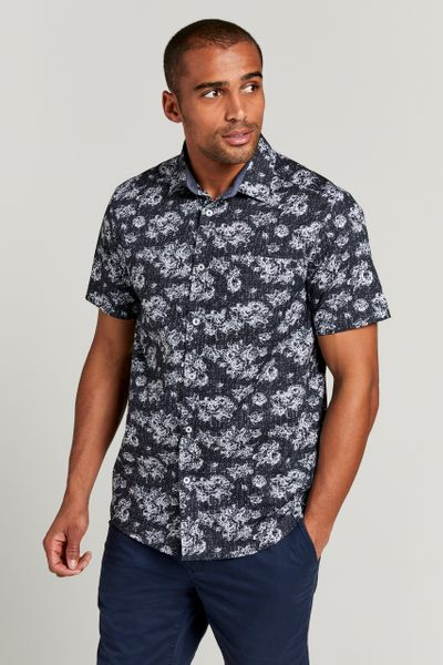 Navy Rose Short Sleeve Shirt