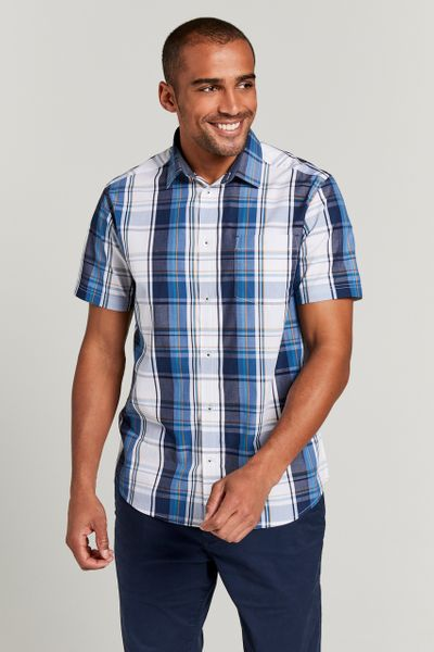 Navy & White Check Shirt