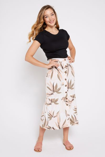 Fern Print Tiered Skirt