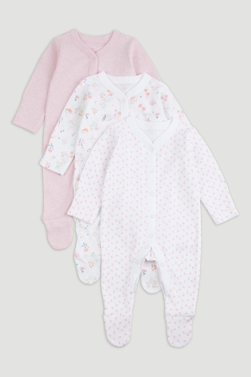 3 Pack Pink Marl Sleepsuits