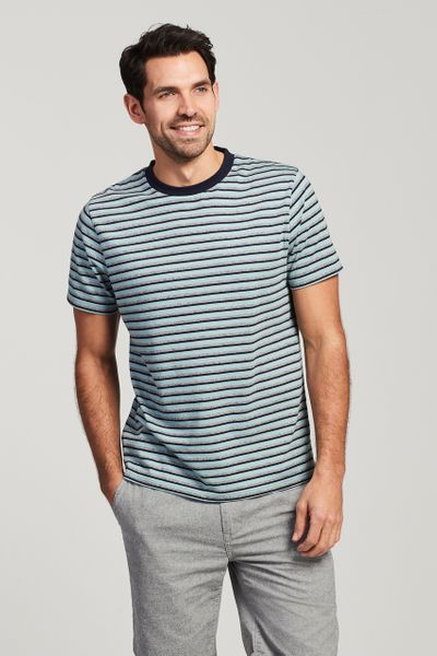 Blue Textured Stripe T-Shirt