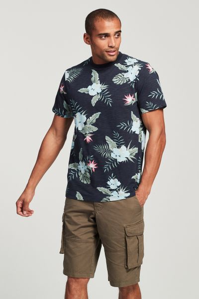 Navy Tropical Print T-Shirt