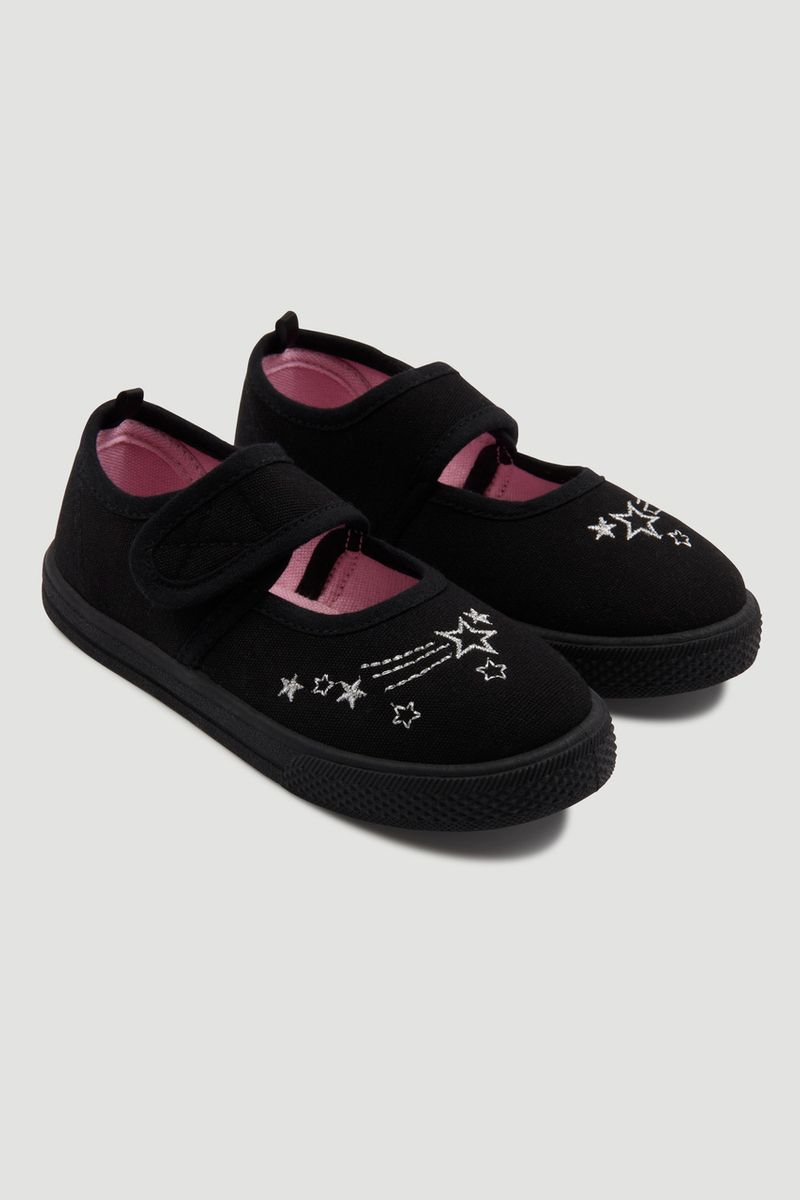 Embroidered Black Plimsolls