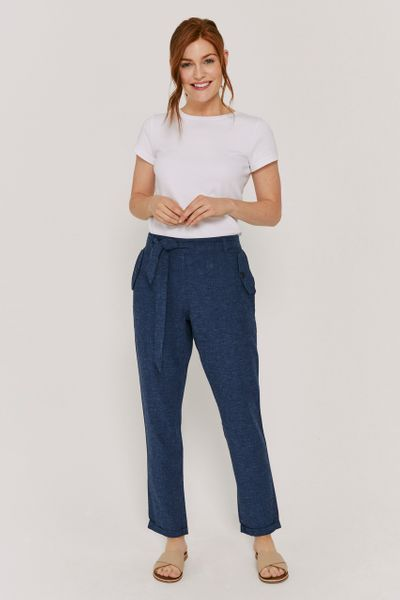 Navy Linen Rich Tapered Trousers