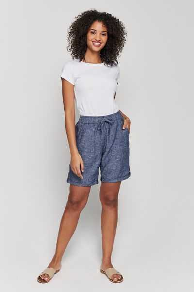 Navy Linen Rich Shorts