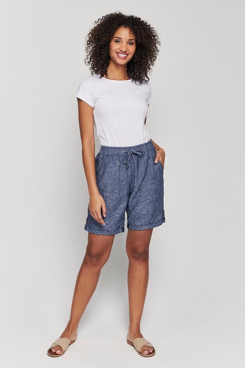 Navy Linen Rich Shorts