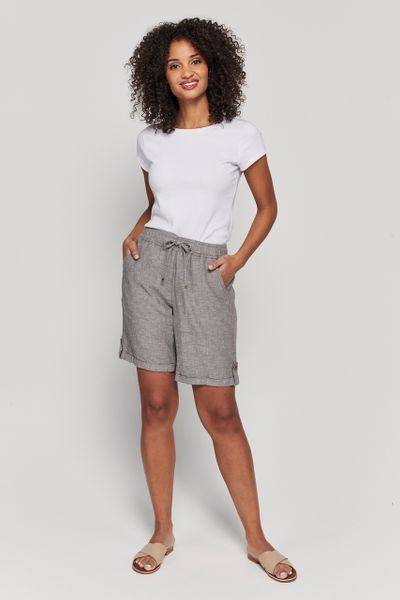 Taupe Linen Rich Shorts