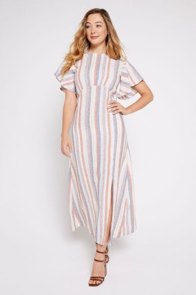 Stripe Woven Linen Rich Dress